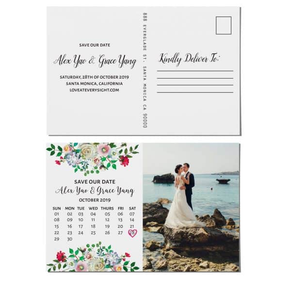 Wedding Save the Date Postcards with photo, Wedding Save the Date Post Cards, Save the Date Cards- Invite your relatives and friends- Floral Design