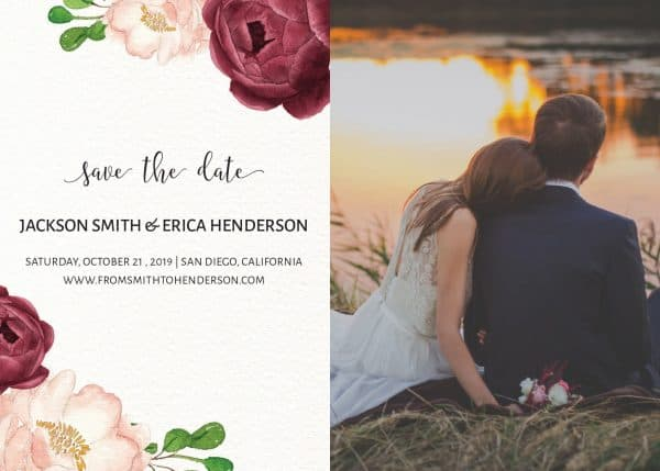 Vintage Save the Date Postcards with photo, Wedding Save the Date Post Cards, Save the Date Cards- Invite your relatives and friends- Floral Design