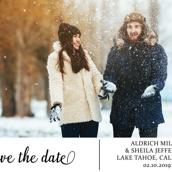 Winter Save the Date Postcards with photo, Wedding Save the Date Post Cards, Save the Date Cards- Invite your relatives and friends- Floral Design