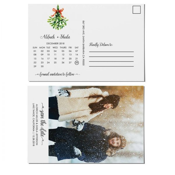 Winter Save the Date Postcards with photo, Wedding Save the Date Post Cards, Save the Date Cards- Invite your relatives and friends- Green Bouquet Design