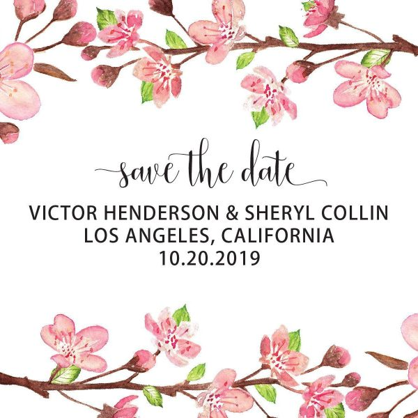 Rustic Wedding Save the Date Postcards, Wedding Save the Date Post Cards, Save the Date Cards, Invite your relatives and friends- Floral Sakura Cherry Blossom