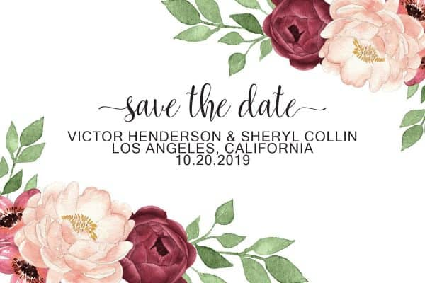 Simple Save the Date Postcards, Wedding Save the Date Post Cards, Save the Date Cards, Floral Marsala Roses, Calendar Save the Date