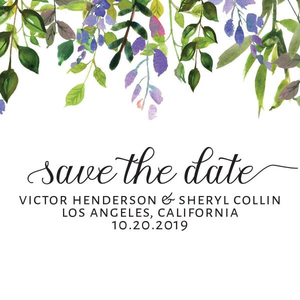 Vintage Wedding Save the Date Postcards, Wedding Save the Date Post Cards, Save the Date Cards, Calendar Save the Date- Colorful Leaf Design