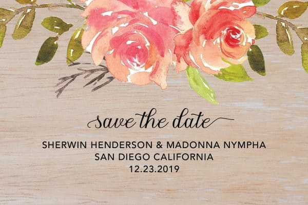 Rustic Save the Date Wedding Postcard, Wedding Calendar Save the Date, Vintage Wedding Save the Date Cards- Floral Theme