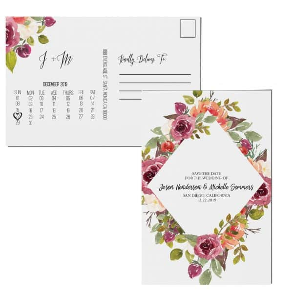 Floral Save the Date Postcards, Wedding Save the Date Post Cards, Save the Date Cards, Invitation&Invite, Wedding Announcement