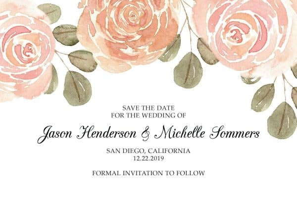 Wedding Save the Date Postcards for Weddings, Invitation Card, Wedding Announcement, Marriage Calendar- Magic Roses Design