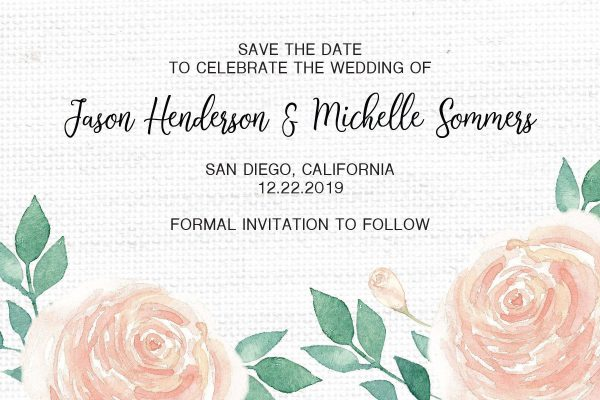 Wedding Save the Date Postcards for Weddings, Invitation, Wedding Announcement, Marriage Calendar- Textile Roses Design