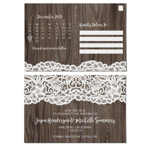Rustic Wedding Save the Date Postcards for Weddings, Wedding Invitation, Wedding Announcement, Marriage Calendar- Wood& Lace Design
