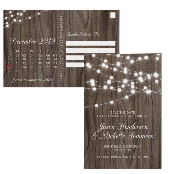 Wedding Save the Date Postcards for Weddings, Invitation, Wedding Announcement, Marriage Calendar- Wood& Lights Design