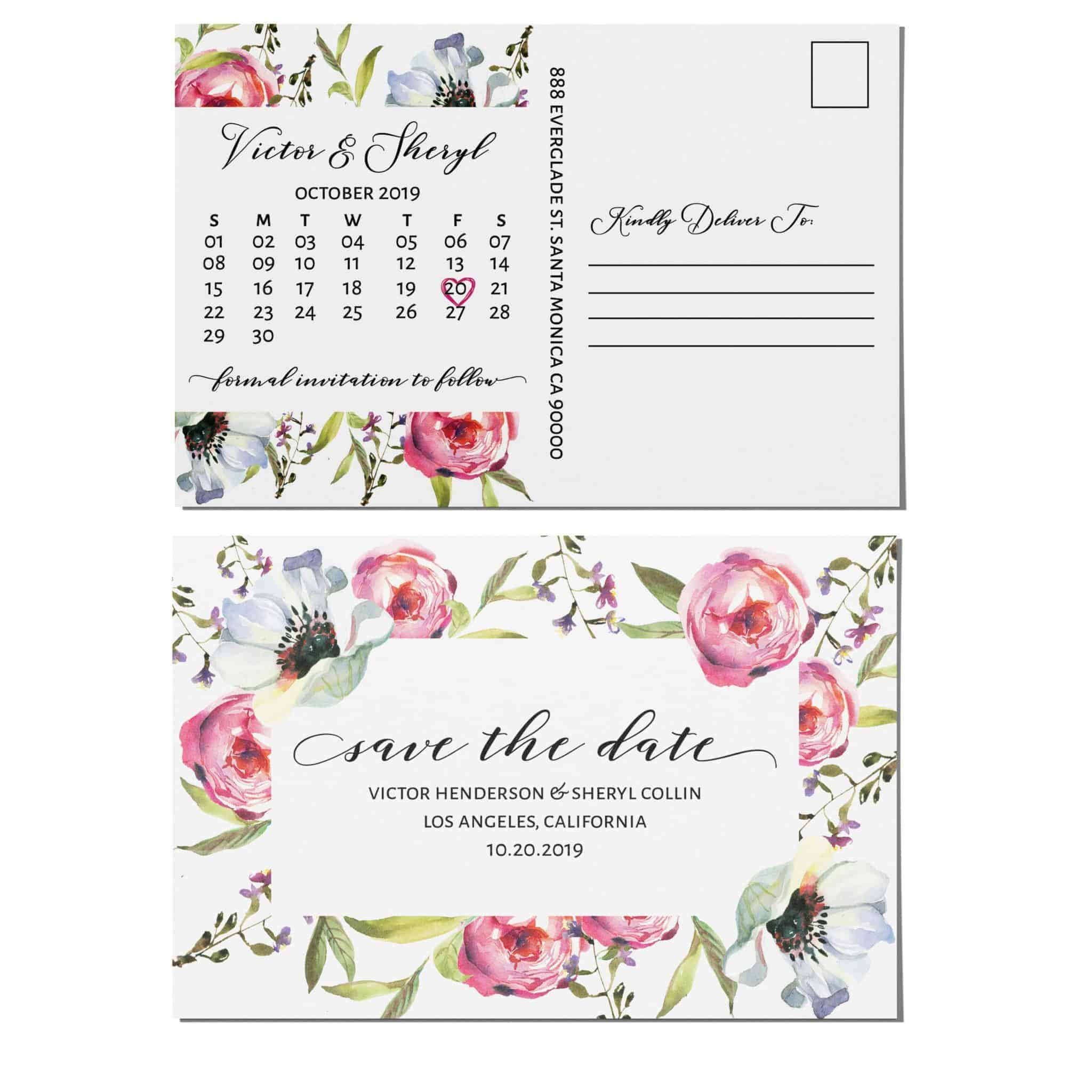 Vintage Save the Date Postcard for Weddings, Invitation Card, Wedding Announcement, Marriage Calendar- Wildflowers Theme