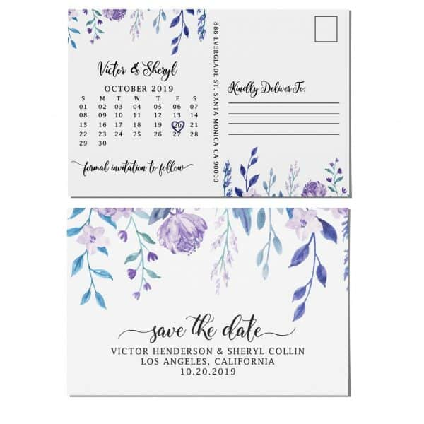 Wedding Save the Date Postcard, Wedding Announcement Postcard, Marriage Invitation Calendar- Hanging Flowers Theme