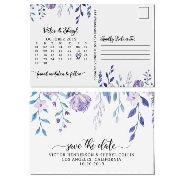 Wedding Save the Date Postcard, Wedding Announcement Postcard, Marriage Invitation Calendar- Hanging Flowers Theme