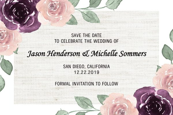 Wedding Save the Date Postcard,Wedding Announcement Postcard, Marriage Invitation Calendar, Invitation& Invite- Rustic Flower Art Theme