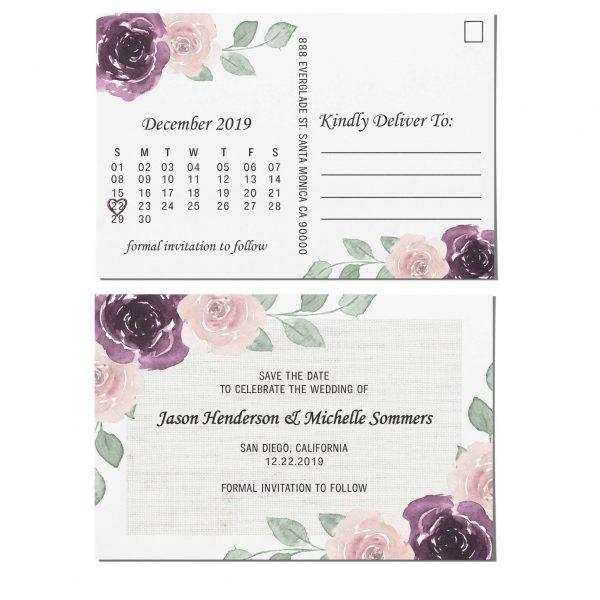 Wedding Save the Date Postcard,Wedding Announcement Postcard, Marriage Invitation Calendar, Invitation& Invite- Rustic Flower Art Theme