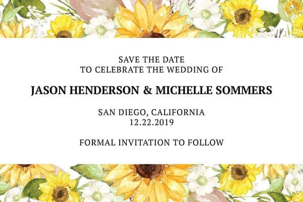 Save the Date Postcard for Weddings, Wedding Announcement Postcard, Marriage Invitation Calendar- Yellow Flowers Theme