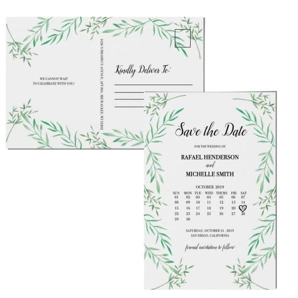 Simple Save the Date Postcards, Wedding Save the Date Post Cards, Save the Date Cards, Classic, Green Twigs, Calendar Save the Date