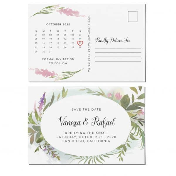 Amazing Save the Date Postcards, Wedding Save the Date Postcards, Save the Date Cards, Green Mountain Flowers, Calendar Save the Date