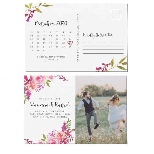 Awesome Save the Date Photo Postcards, Wedding Save the Date Postcards, Save the Date Cards, Bright Flowers, Calendar Save the Date