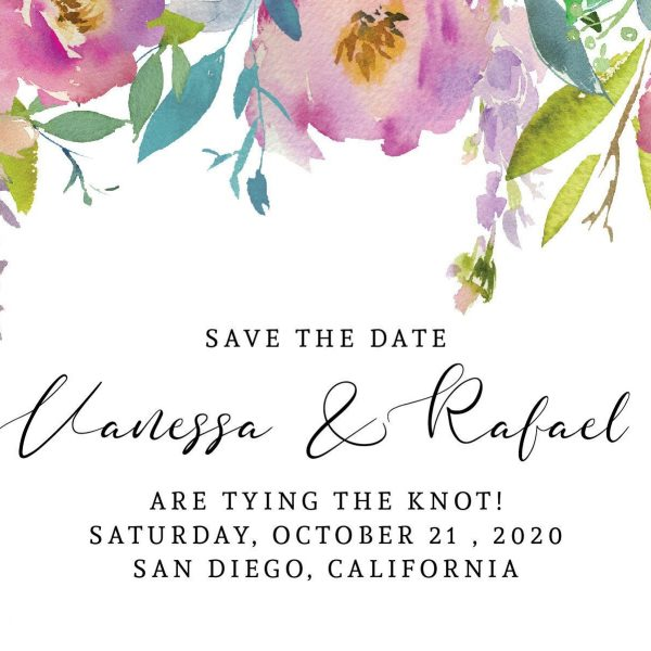 Adorable Save the Date Postcards Tying the Knot!, Wedding Save the Date Postcards, Floral Save the Date Cards, Calendar Save the Date