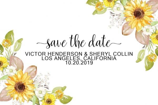 Wedding Save the Date Postcards, Wedding Save the Date Postcards, Floral Save the Date Cards, Calendar Save the Date- Yellow Spring Design