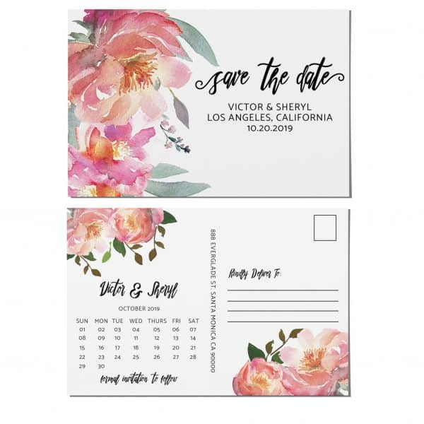 Wedding Save the Date Postcards, Wedding Save the Date Postcards, Save the Date Cards, Calendar Save the Date- Adorable Pink Floral Design