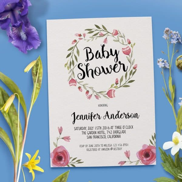 Vintage Floral Baby Shower Invitations, Baby Shower Card, Baby Shower Invites