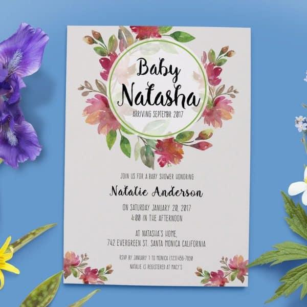 Floral Baby Shower Invitations, Baby Shower Card, Baby Shower Invites, Rustic Cute Baby Shower Invitation Card babyshower19