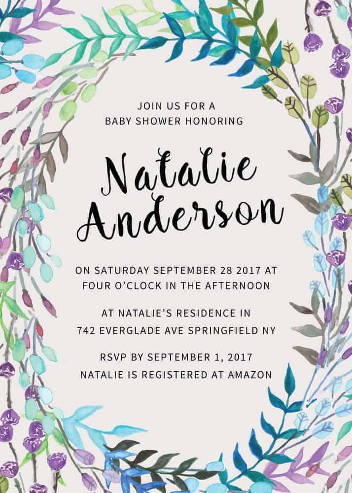 Floral Baby Shower Invitations, Baby Shower Card, Baby Shower Invites, Rustic Cute Baby Shower Invitation Card, Printable babyshower20
