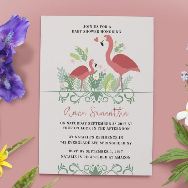 Woodland Baby Shower Invitations, Floral Baby Shower Card, Baby Shower Invites, Rustic Cute Baby Shower Invitation Card, Printable babyshower22