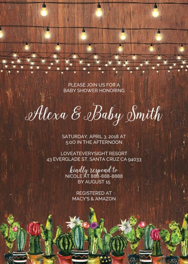 Rustic Baby Shower Invitation Cards, Baby Shower Card, Baby Shower Invites, Greenery Cute Baby Shower Invitation Card, Printable