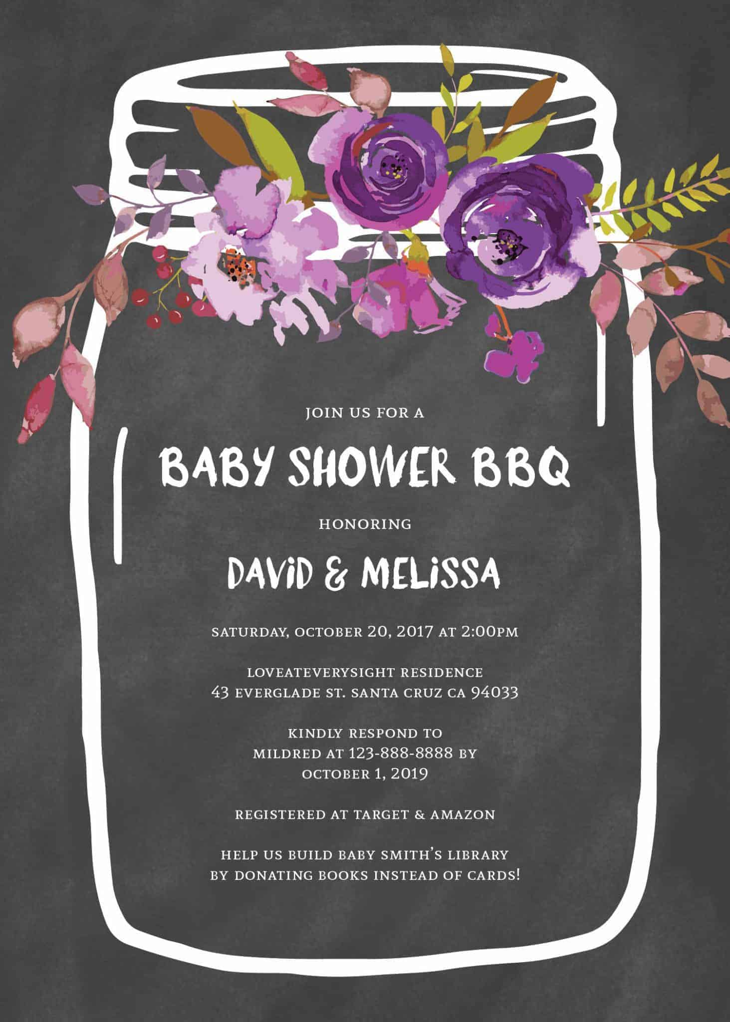Rustic Baby Shower BBQ, BBQ Baby Shower, Couple Baby Shower Invitation Cards, Mason Jars Baby Shower babyshower68
