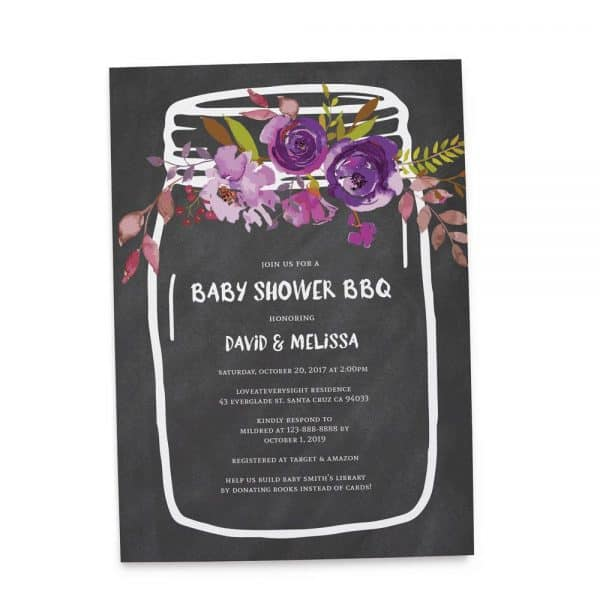 Rustic Baby Shower BBQ, BBQ Baby Shower, Couple Baby Shower Invitation Cards, Mason Jars Baby Shower