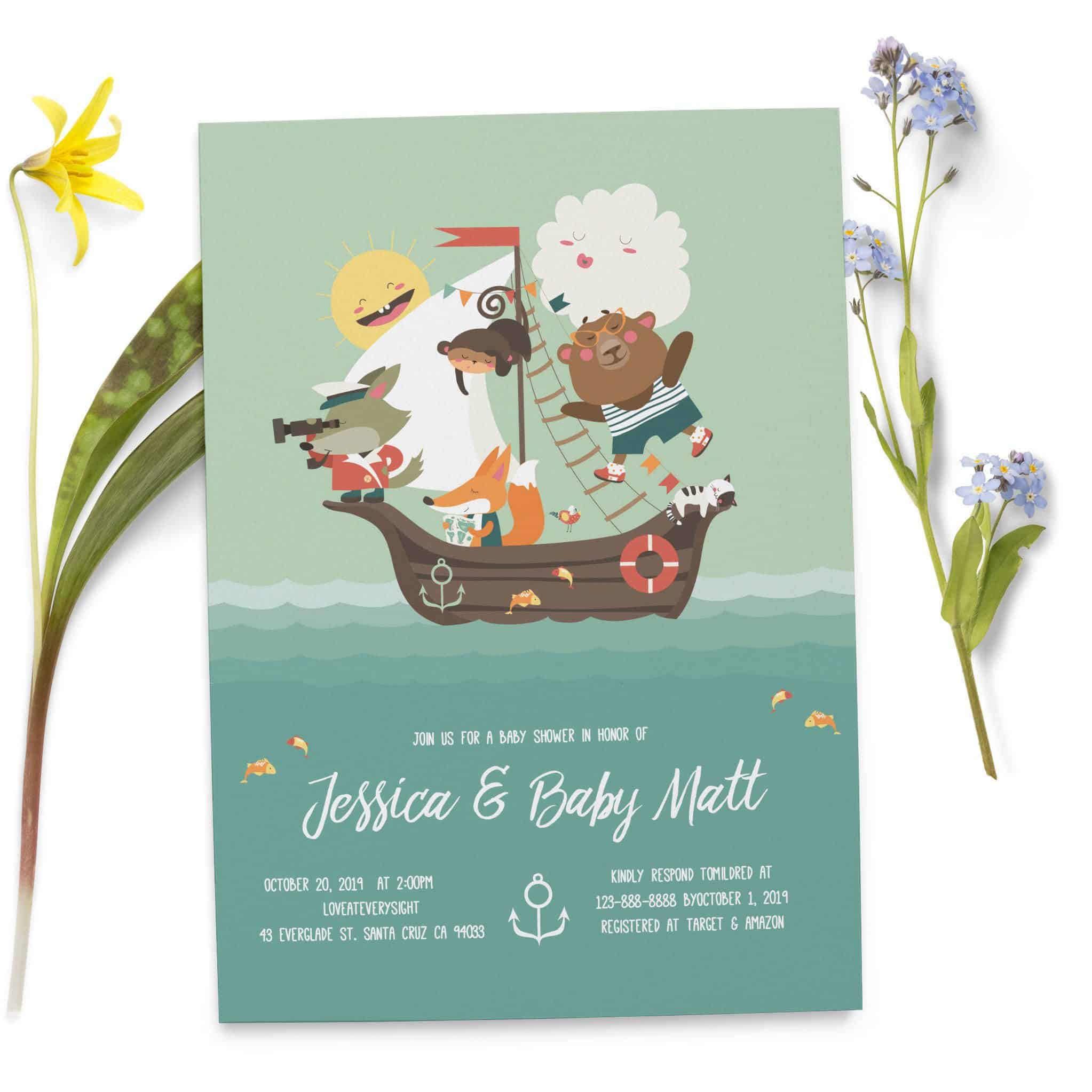 Baby Shower Invitation for Boys and Girls, Ship and Toys, Custom Personalized Invitation Cards, Sip and See,Baby Sprinkle Party Supplies #77