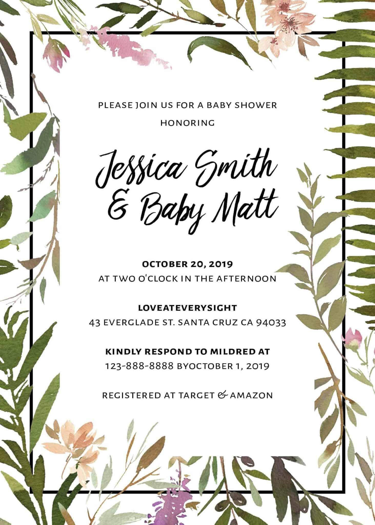 Exotic Meadow Baby Shower Invitation card, Baby Arrival Party Celebration, Mommy and Baby Enjoyment Invitation Card