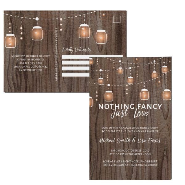 Rustic Nothing Fancy Just Love Wedding Reception Invitation Cards with String Lights and Mason Jars