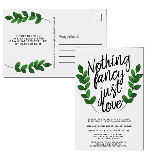 Rustic Nothing Fancy Just Love Wedding Reception Invitation Cards
