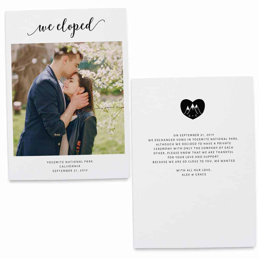 We Eloped, Flat Elopement Announcement Cards with Photos, Personalized Post-Wedding Notice, Marriage Announcement Cards