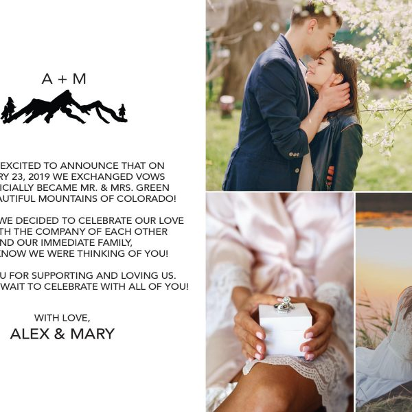 We've Exchanged Vows , Flat Elopement Announcement Cards with Photos, Personalized Post-Wedding Notice, Marriage Announcement Cards