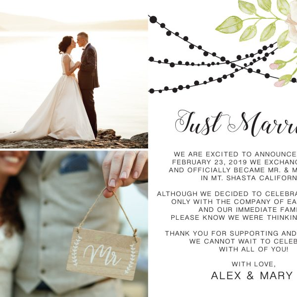 Just Married, Flat Elopement Announcement Cards with Photos, Personalized Post-Wedding Notice, Marriage Announcement Cards