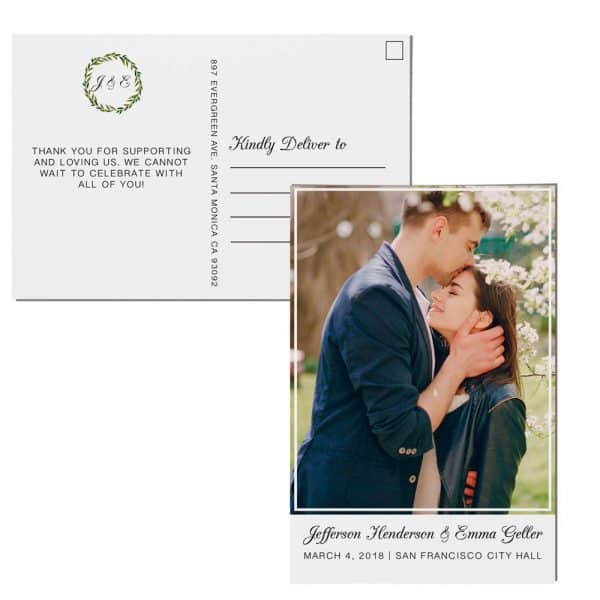 Elopement Announcement Postcards, Wedding Announcement Postcards, Printed and Printable Elopement Announcement Postcards