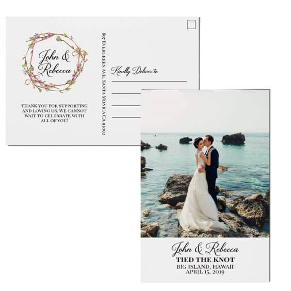 Tied The Knot Elopement Announcement Postcards, Wedding Announcement Postcards, Printed and Printable Elopement Announcement Postcards