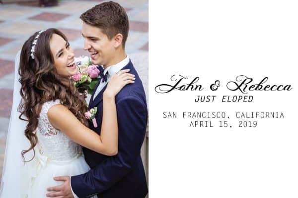 Just Eloped Elopement Announcement Postcards, Wedding Announcement Postcards, Printed and Printable Elopement Announcement Postcards