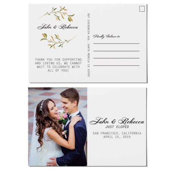 Just Eloped Elopement Announcement Postcards, Wedding Announcement Postcards, Printed and Printable Elopement Announcement Postcards elopement201
