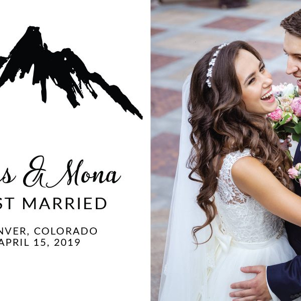 Mountain Elopement Announcement Postcards, Just Married Wedding Announcement Postcards, Elopement Announcement Postcards