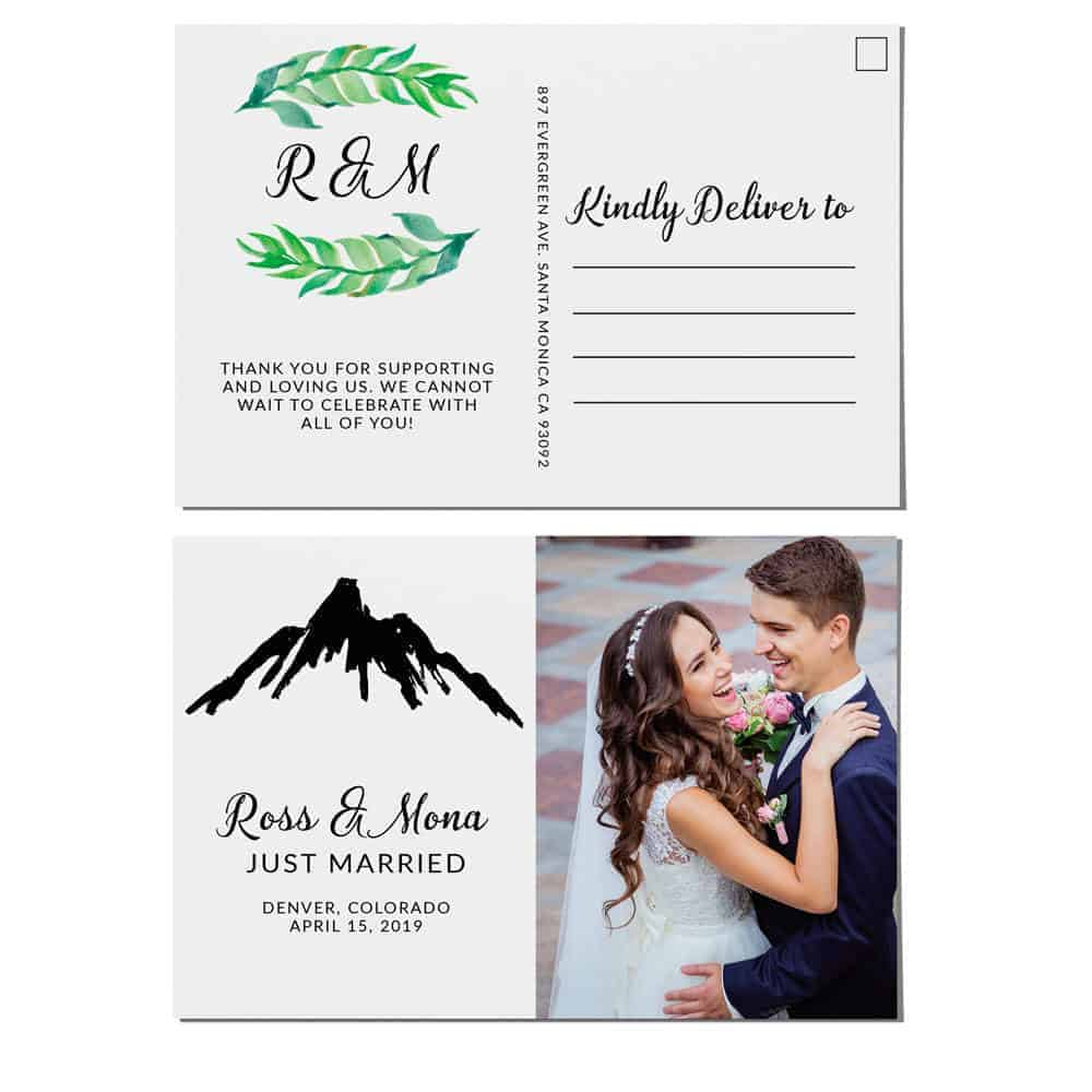 Mountain Elopement Announcement Postcards, Just Married Wedding Announcement Postcards, Elopement Announcement Postcards