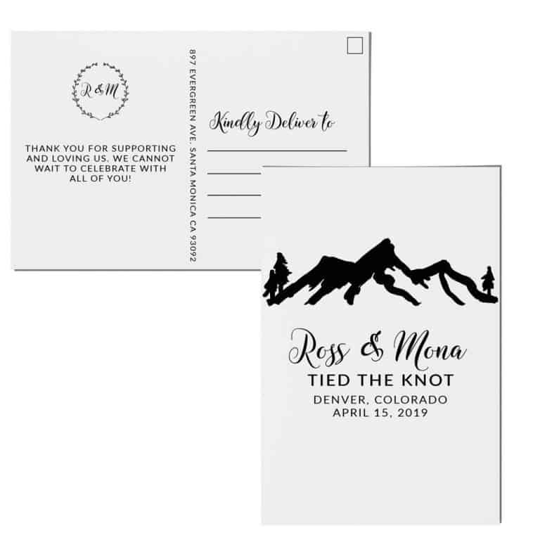 Mountain Elopement Announcement Postcards, Tied the knot Wedding Announcement Postcards, Elopement Announcement Postcards elopement204