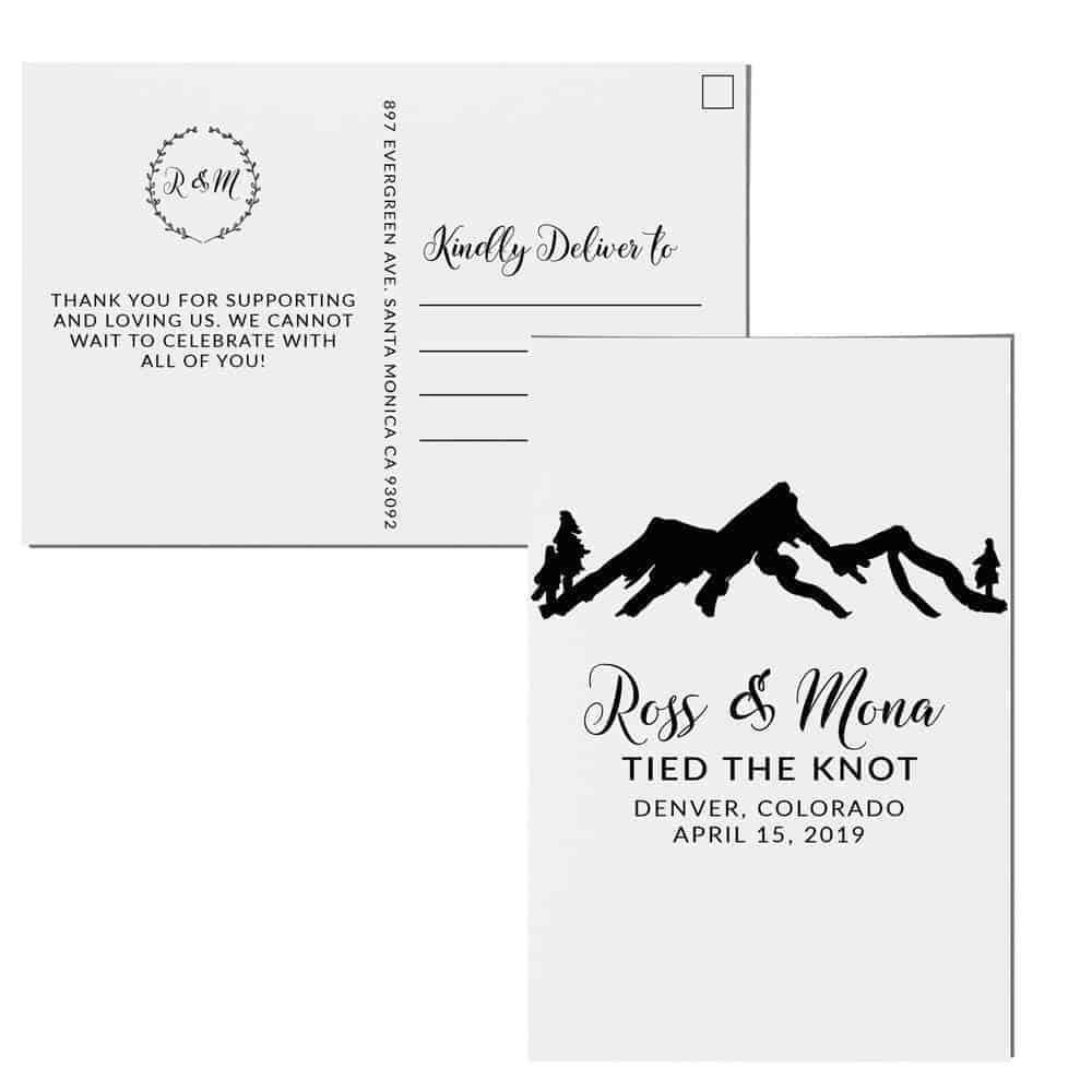 Mountain Elopement Announcement Postcards, Tied the knot Wedding Announcement Postcards, Elopement Announcement Postcards