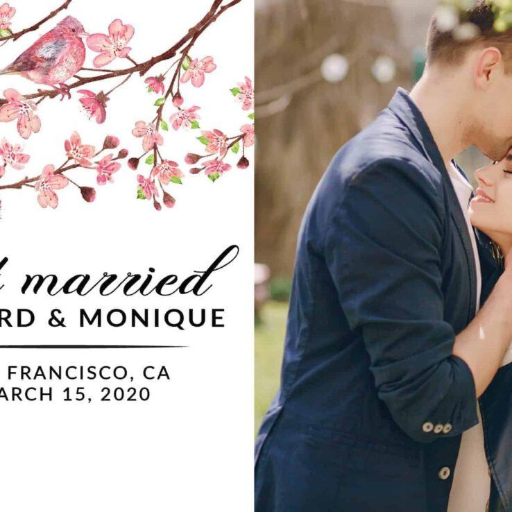 Just Married Elopement Announcement Postcards, Cherry Blossom Wedding Announcement Postcards, Elopement Announcement Postcards