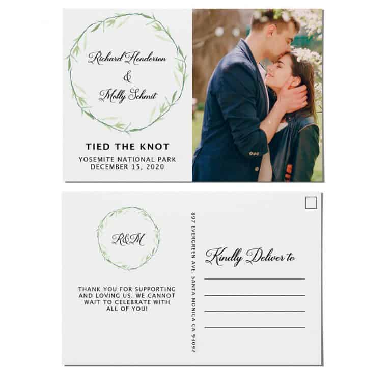 Tied the Knot Elopement Announcement Postcards, Wedding Announcement Postcards, Elopement Announcement Postcards elopement206