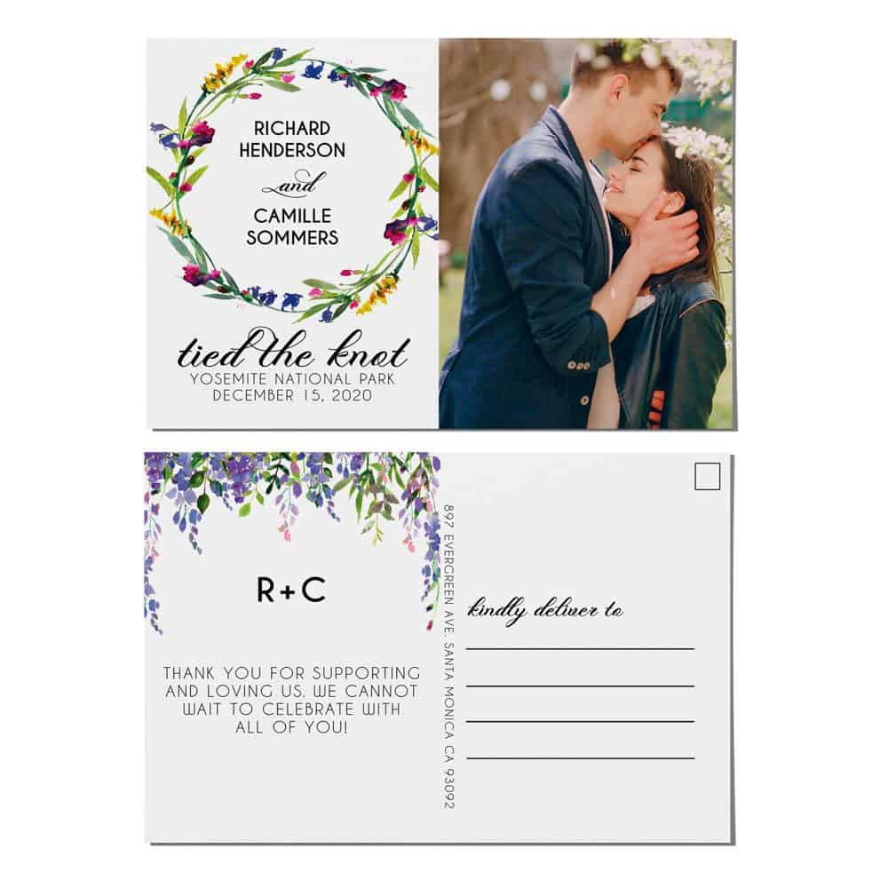 Tied the Knot Elopement Announcement Postcards, Wedding Announcement Postcards, Elopement Announcement Postcards elopement207